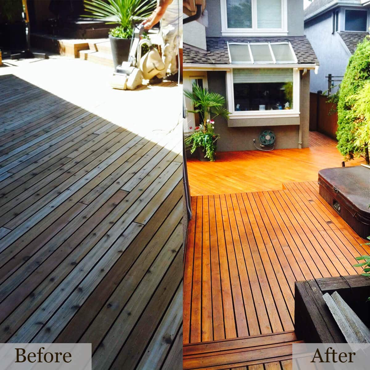 Before and after picture of a deck painted by cypress painting