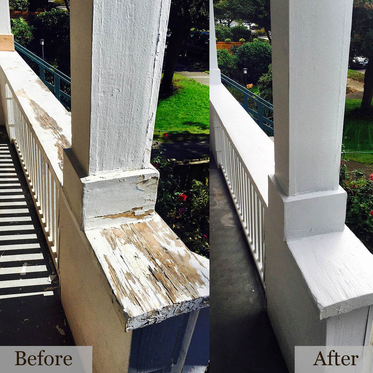 Before and After of a wooden fence painted white