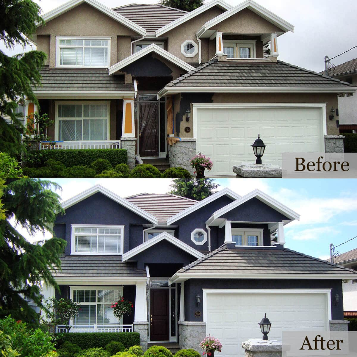 Before and after picture of a residential house had its wall painted blue by cypress painting