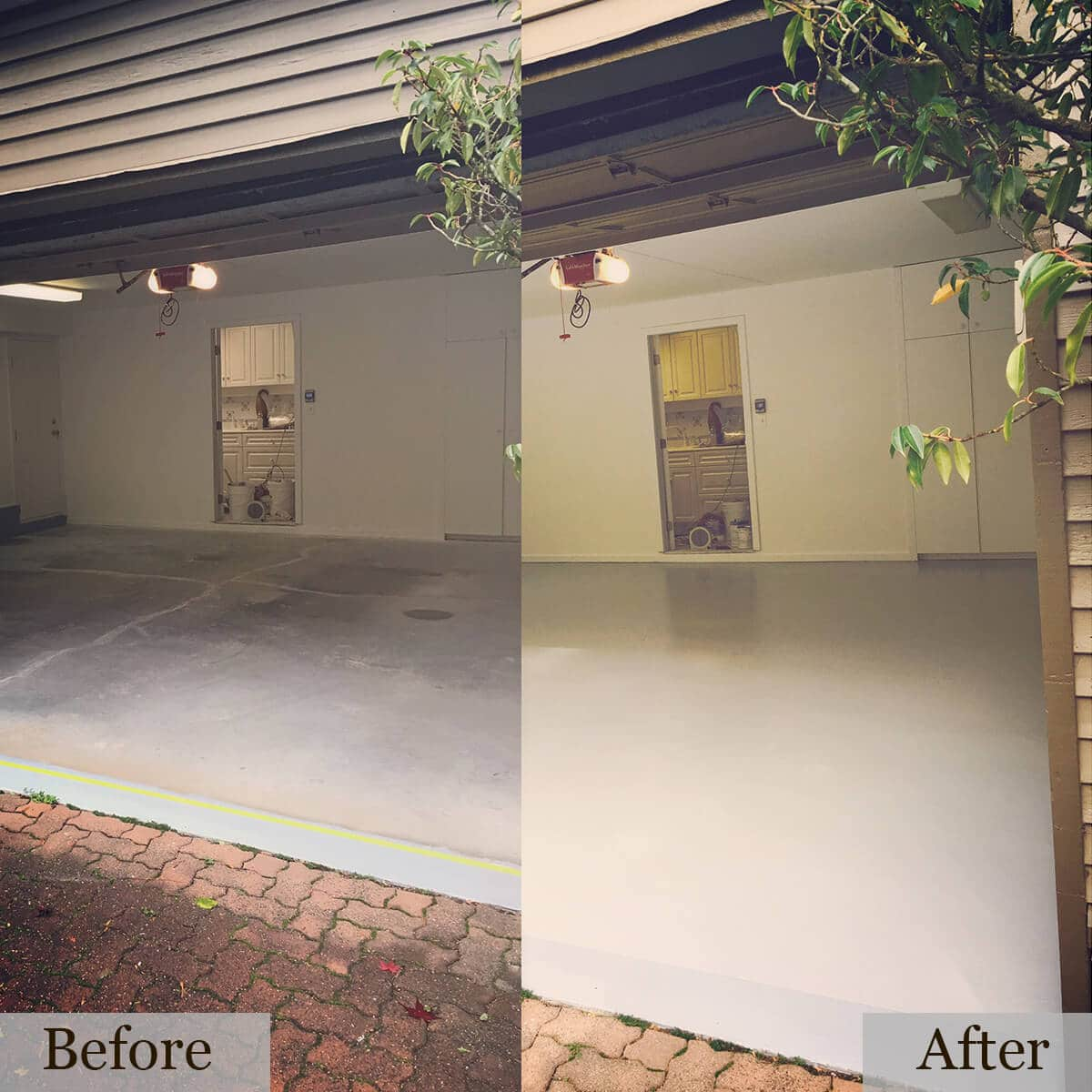 Before and After picture of a residential garage