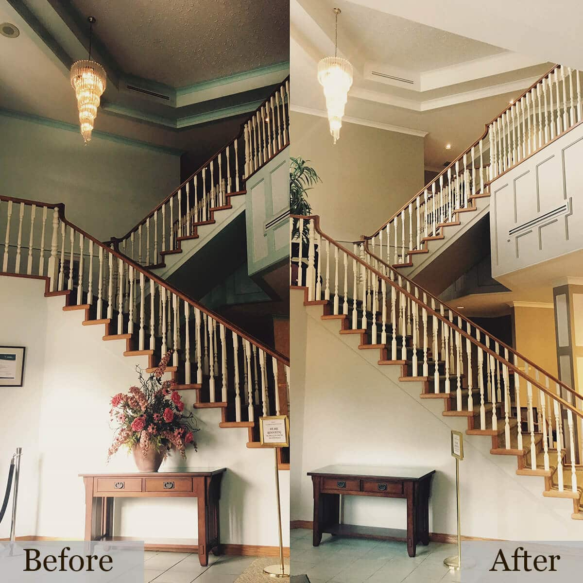 Before and After picture of a dark brown stairway painted by Cypress Painting